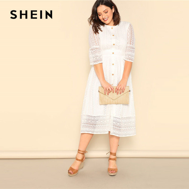 SHEIN Plus Size Lady Romantic Button Front Lace Overlay Maxi Dress Spring Elegant High Waist Half Sleeve A Line Long Dress 2