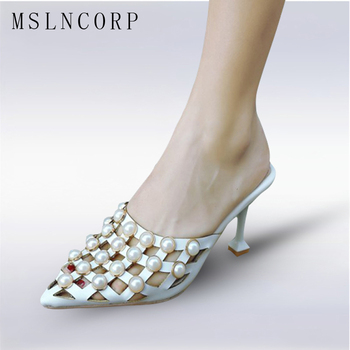 aad48a58e14 Plus Size 34-43 New Women slipper Pearls Summer high heel Shoes Outside  Fashion Pointed Toe Checkered Slippers sexy ladies Pumps
