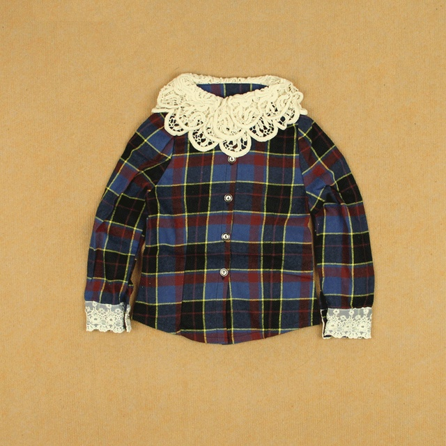 Female child plaid long-sleeve shirt fluid baby crochet neckline cuff lace spring