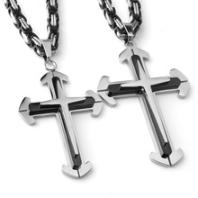 Hip Hop Stainless Steel Silver Black Christian Jesus Cross Pendant With 5mm Byzantine Link Chain Necklace Men's Boy's Jewelry