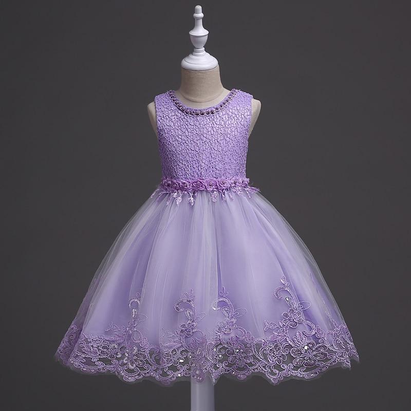 все цены на 2-10 Year Birthday Baby Girl Dresses For Baptism Infant Snow Purple Princess Lace Christening Gown Bebes Clothes For Girls онлайн