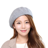 Wool Winer Women Beret Cap Warm Comfortable Painter Hat For Women Black Gray Fashion Beret Hat