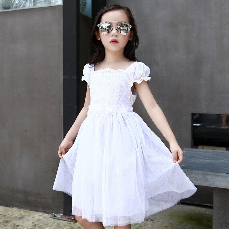 d5c7283e793 Midi largo de la muchacha rosada blanca vestidos de princesa de las flores  de ganchillo malla patchwork pequeño adolescente niñas verano 2017 vestido  de ...