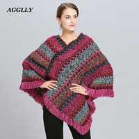 Abrigo Mujer Poncho capa invierno Mujer Ponchos capas Bat Pullover Color rayas tejido de lujo marca borlas estola 115