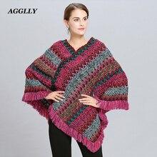 Abrigo mujer poncho capa casaco de inverno feminino ponchos capas morcego pulôver cor listra tricô marca luxo borlas roubou 115