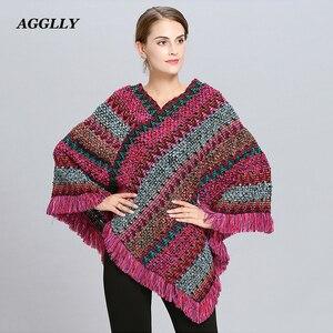 Image 1 - Abrigo mujer poncho capa casaco de inverno feminino ponchos capas morcego pulôver cor listra tricô marca luxo borlas roubou 115
