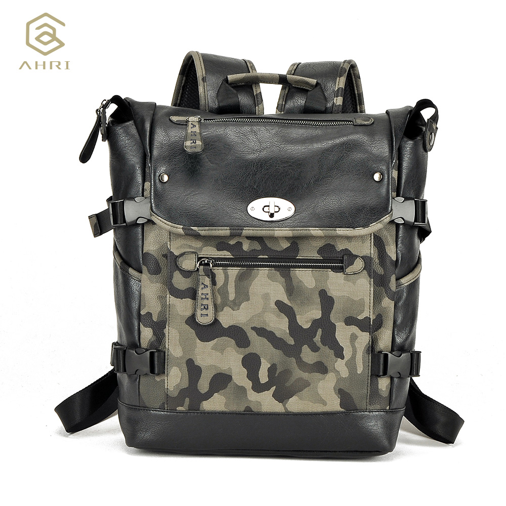 ФОТО AHRI Factory outlet Business Casual School Backpack PU Leather Men's Camouflage Shoulder Bags Fashion Travel Backpacks for Men