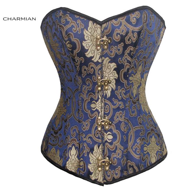 Charmian talles para las mujeres retro steampunk corsé brocado espartilhos corsé huesos de acero del corsé de overbust faja para las mujeres