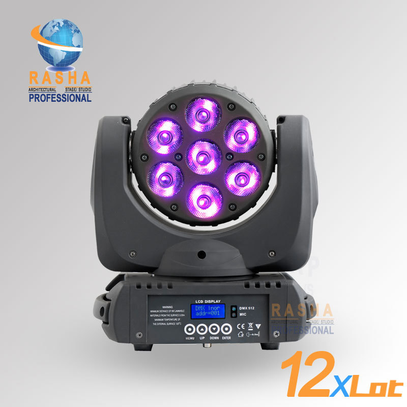 12pcs/LOT Big Sale 7pcs*12W DMX RGBW 4in1 LED Moving Head Beam Light With LCD Display,Powercon,110-240V For Event,DJ Bar