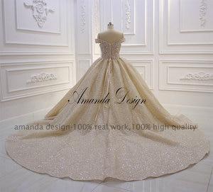 Image 3 - Amanda Design Top Quality Off Shoulder Pleated Champagne Shiny Luxury Wedding Dress