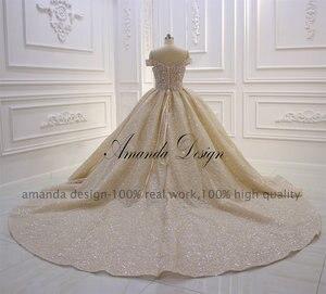 Image 3 - Amanda Tasarım En Kaliteli Kapalı Omuz Pileli Şampanya Parlak Lüks düğün elbisesi