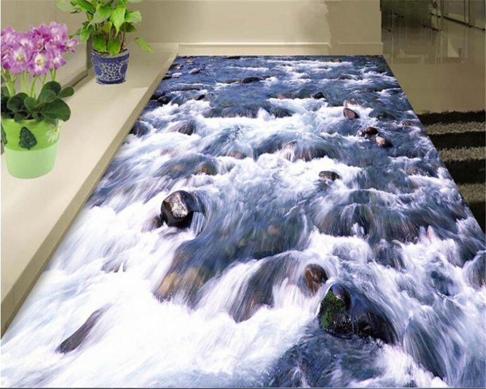 где купить beibehang Indoor pvc papel de parede 3d wallpaper river stream pebbles three-dimensional 3d flooring to map to paste pictures по лучшей цене