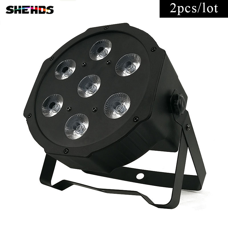 7x 3W White DMX Stage Lights Business Lights Led Flat Par High Power Light with Professional for Party KTV Disco DJ,SHEHDS hot ac 90 240v 54 x 1w rgb led stage light high power flat par light led stage lighting projector lamp for party ktv disco dj