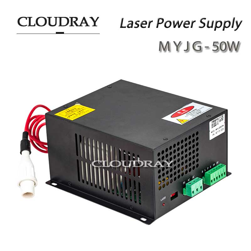 Cloudray CO2 Laser Power Supply for CO2 Laser Engraving Cutting Machine  50W AC 110V CE Certificate factory supply co2 laser second reflection 25mm mirror mount support integrative holder for laser engraving cutting machine