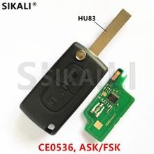 (2BT CE0536 HU83) Car Remote Key for 207 208 307 308 408 ASK/FSK Signal for Peugeot
