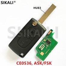Llave remota para coche, señal ASK/FSK, para Peugeot 207, 208, 307, 308, 408, (2BT, CE0536, HU83)