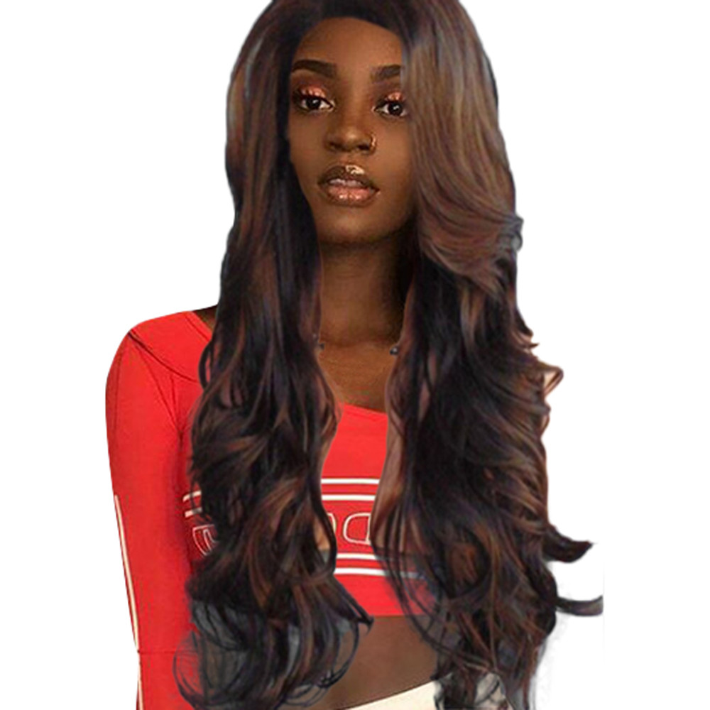 Body Long WaveLace Front  made fiber Wigs For Women Pre Plucked Brazilian Remy Hair Wigs Bleached Knots Baby Hair 8277