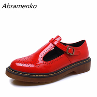 Abramenko Women Oxfords Brogue Flats Shoes Summer Patent Leather Round Toe Female Footwear Creepers Shoes For Women Big Size 43