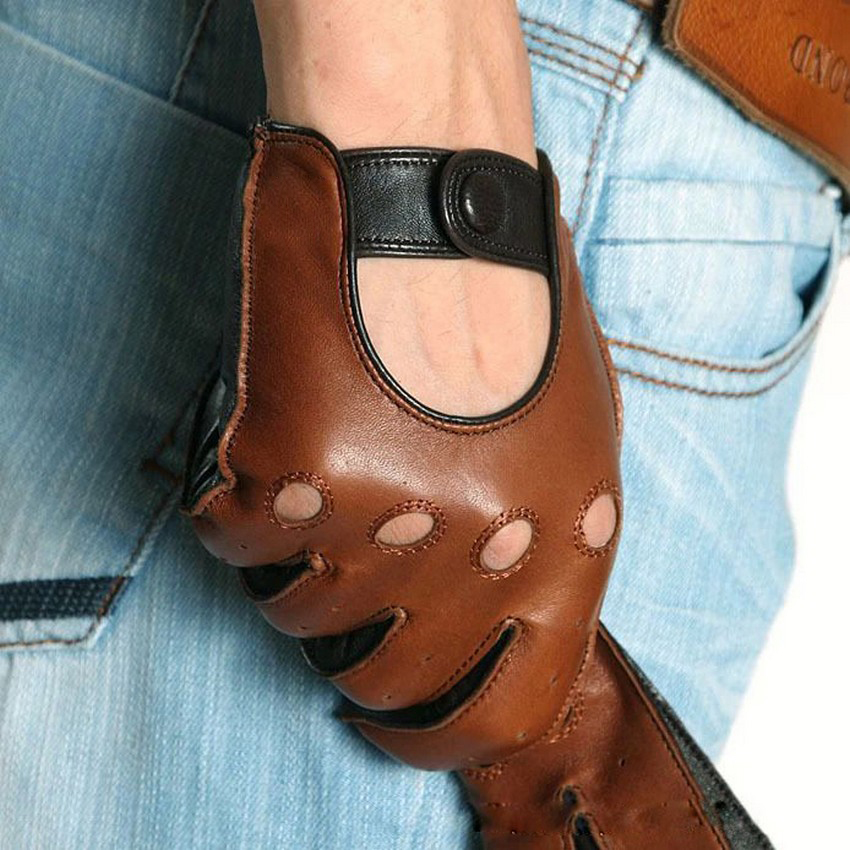 Genuine Leather Men Gloves Fashion Casual Breathable Sheepskin Glove Five Fingers Male Driving Leather Gloves Unlined M023W