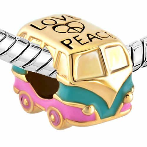1PC serce kocham spokój antyczny autobus Two Tone Plated europejski koralik Charms fit Pandora Charm bransoletki bransoletki