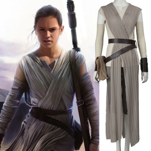 HOT 2018 Star Wars The Force Awakens Rey Cosplay Costume Custom made Full Set Suits Outifts