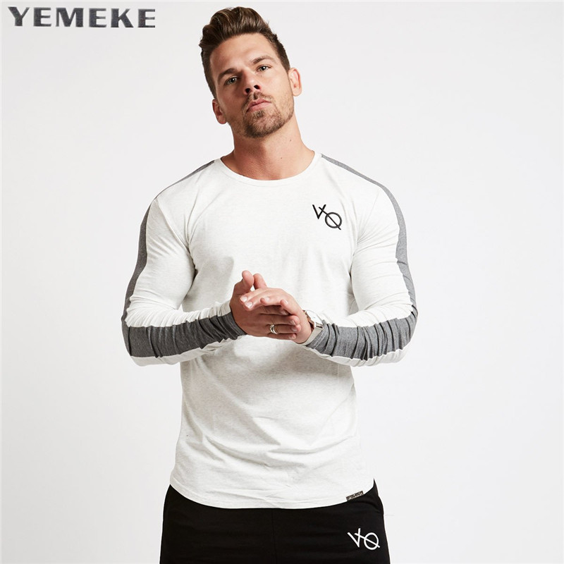 Brand Men fashion t shirt 2017NEW Spring summer Slim shirts male Tops Leisure Bodybuilding Long Sleeve personality tees clothing