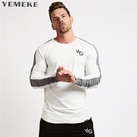 Brand Men Fashion T Shirt 2017NEW Spring Summer Slim Shirts Male Tops Leisure Bodybuilding Long Sleeve