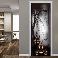 Fog Moon Night Pumpkin Bat Sticker Halloween Decoration Pumpkin Door Sticker Halloween Party Decoration Decal