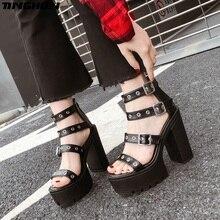 TINGHON Summer Women peep Toe High Heel Sandals punk black Fashion Ladies Shoes Platform Gladiator