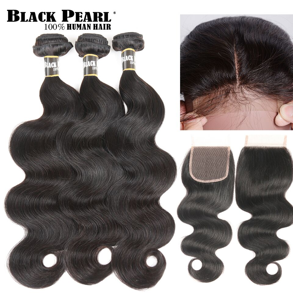 3/4 Bundles With Closure Body Wave Hair Bundles With Closure Brazilian Human Hair Weave 2 Bundles With Baby Hair Closure Ali Sky Human Non-remy Hair Human Hair Weaves