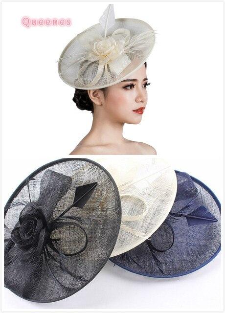 Woman Sinamay Fascinator Headwear Ladies Big Wedding Hat Party Floral  Feather Fascinator Hair Clip Loop Sinamay Hair Accessories 1b47e7a6b2c6
