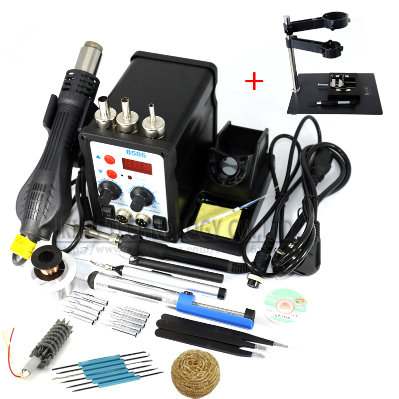 8586 2 in 1 ESD Soldering Station SMD Rework Soldering Station Hot Air Gun set kit +BGA Fixtures/Clamp/Jig 220V/110V 8586 2 in 1 esd soldering station smd rework soldering station hot air gun set kit welding repair tools solder iron eu 220v 110v