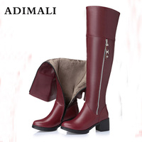 Hot New Women Over The Knee High Boots Stilettos fashion Sexy Autumn Winter black Boots Autumn Winter Genuine Leather Long boots