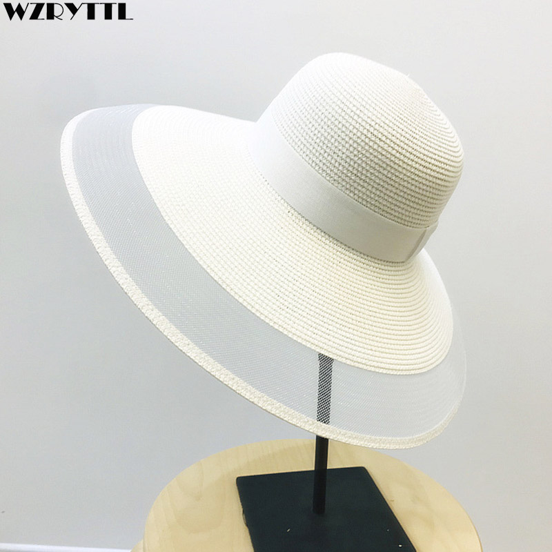 Image 1 - Fascinating Veil Netting Sun Hat UPF 50+ Ladies Kentucky Derby Hats Wide Brim Straw Hat Women Summer Beach Cap Fedoras Dress Hat-in Women's Sun Hats from Apparel Accessories