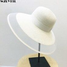 Fascinating Veil Netting Sun Hat UPF 50+ Ladies Kentucky Derby Hats Wide Brim Straw Hat Women Summer Beach Cap Fedoras Dress Hat