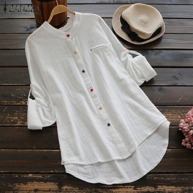 Plus Size Womens Tops and Blouses Feminine Autumn 2018 Vintage White Long Sleeve Long Shirt Ladies Top Korean Fashion Clothing