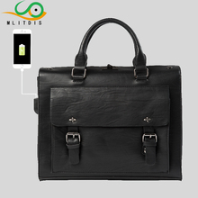 MLITDIS Model Exterior USB Cost Leather-based Males Baggage Shoulder Informal Male Leather-based Black males's Briefcases Laptop computer Bag Purses Totes