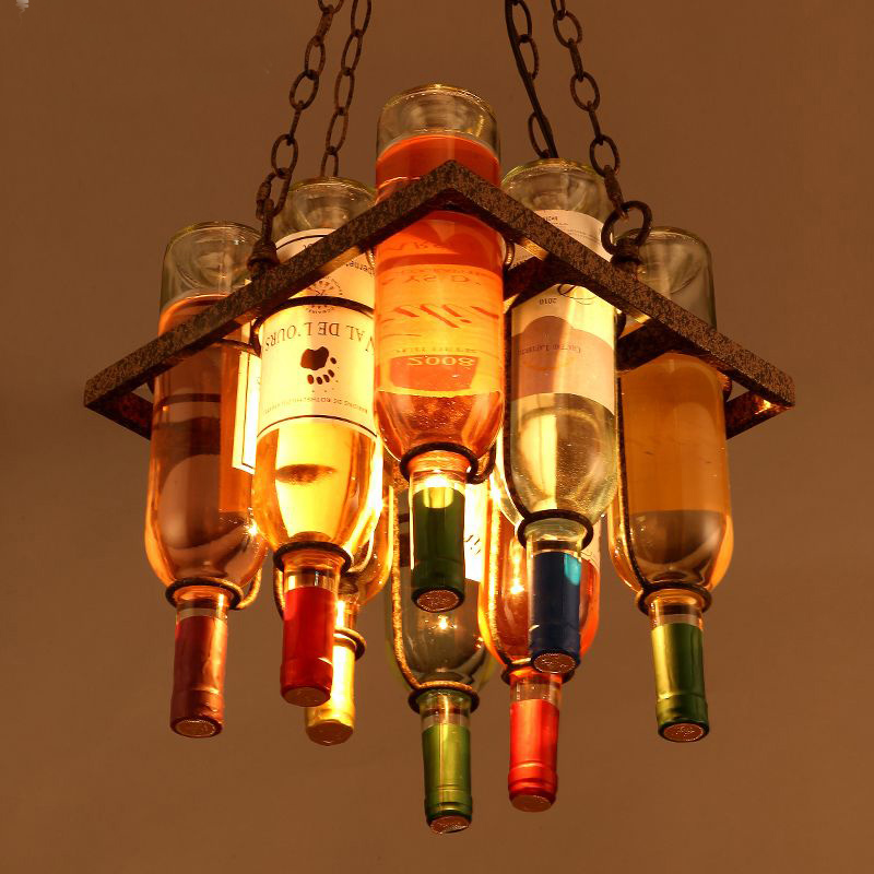 Creative Bar Decorative Glass Bottles Square Wine Rack Iron Pendant Light