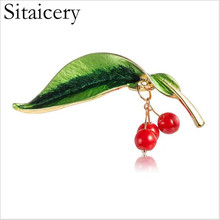 Sitaicery Red Enamel Brooch Woman Jewelry Kids Cherry Corsage Bouquet Hijab Pins Feminino Party Bag Dress Accessories