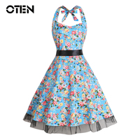 50s60 Dress Vestidos De Festa Women Summer Print Flower Dress Lace Patchwork Formal Vintage Rockabilly Dress