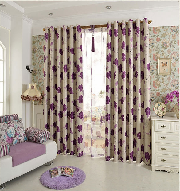Purple Curtains For Bedroom Living Room Curtains With Flower For Living Room The Bedroom Window Curtain