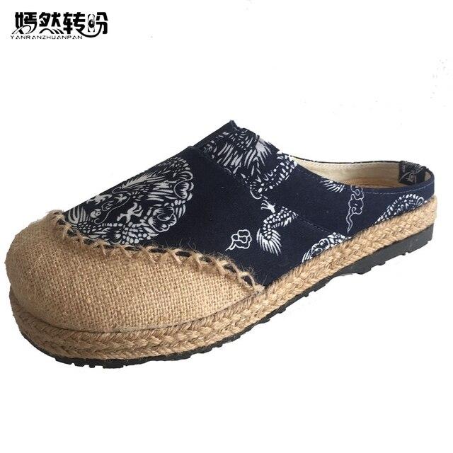 e9ad9de8d6 US $16.95 36% di SCONTO|Pantofole donna Vecchia Pechino Boho Cotone di Tela  canvas Scarpe di Stoffa Nazionale Tessuto Handmade Punta Rotonda e Piatta  ...