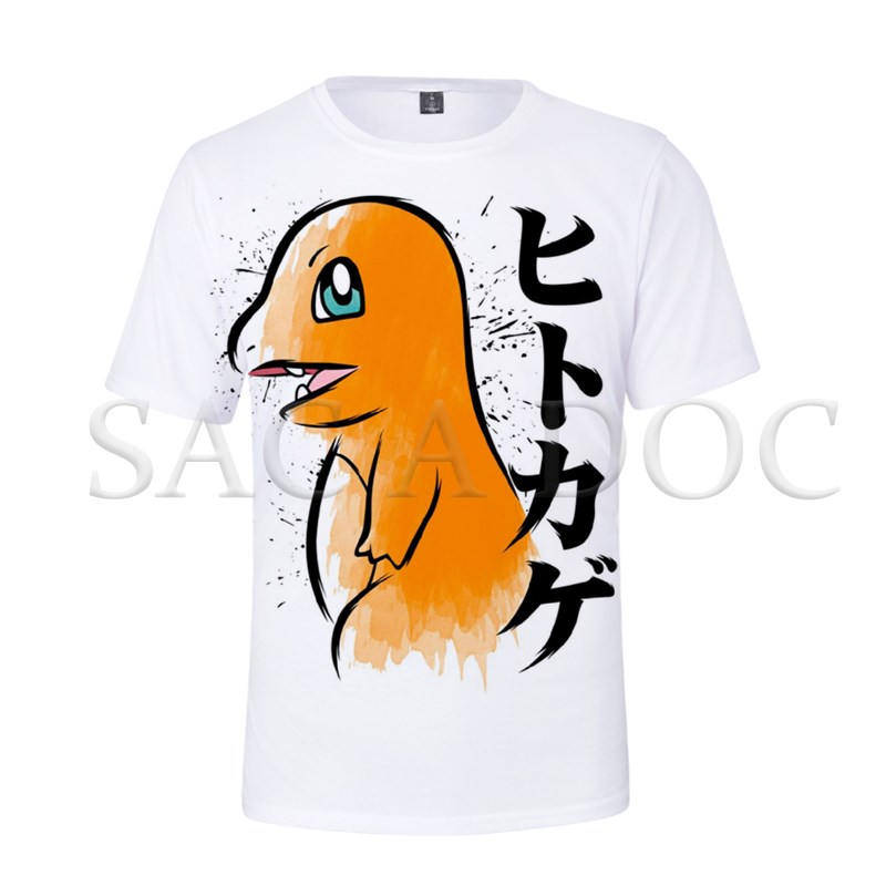 Pokemon Charmander Mewtwo 3D Print T Shirt Summer Short Sleeve T Shirts Men Women Streetwear Casual Tee Shirts Pokemon Tops image
