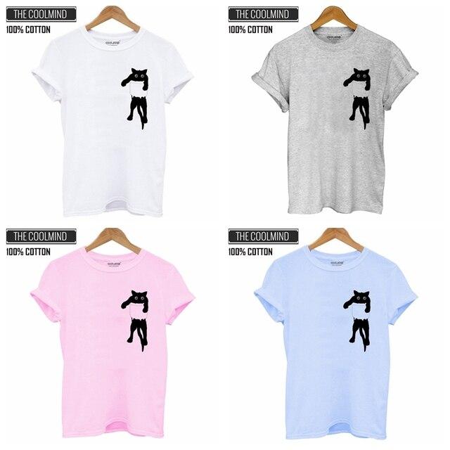 100% Cotton Cat Print Women T shirt  2