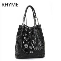 RHYME Vintage Skull Bucket Chain Bag Women Messenger Set Shoulder Bolso With Silk Casual Handbags Ladies