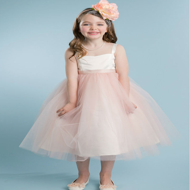 ФОТО A-Line First Communion Dresses for Girls Mid-Calf Flower Girl Dresses for Weddings Patchwork Pageant Dress With Sleeveless