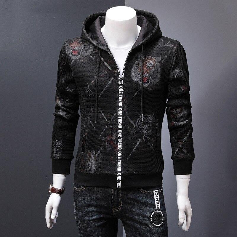 Plus Size 4XL 2018 Men Cardigan Hoodie Personality Zipper Sweatshirt Male Hooded Full Tracksuit Casual Black Sweat Capuche Homme
