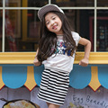 2017 Baby Girls Summer Suits New Korean Kid Shirt+Dress Two-Piece Sets Children Casual Sequins Letter Pullover Clothing Hot Sale