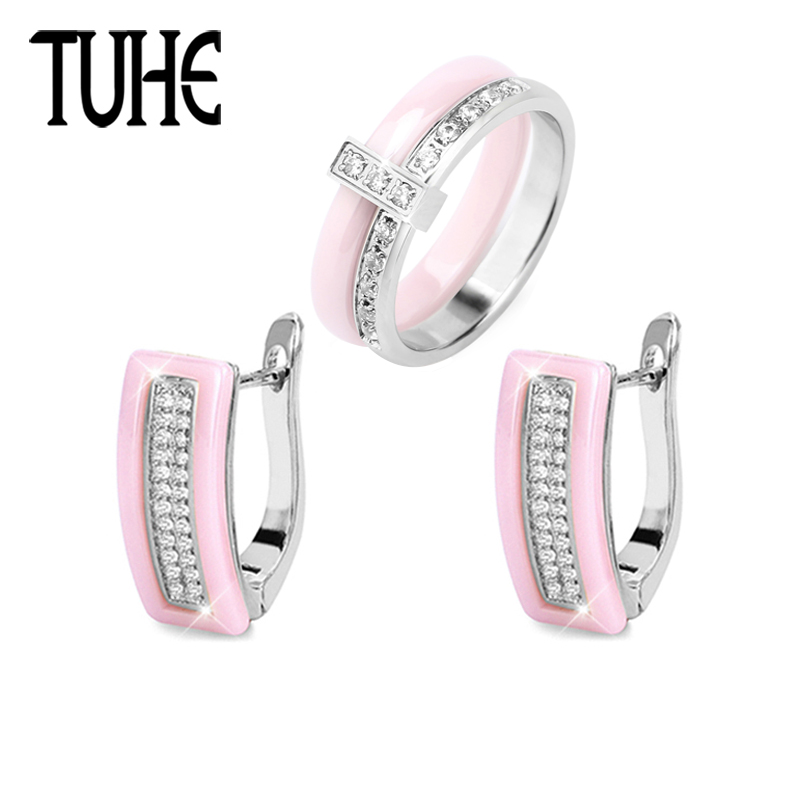 Romantic Lady Jewelry Set Lovely Pink Girl Color With Shining Crystal Steel Ceramic Rings And U Shaped Earrings Fashion Jewelry