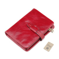 Luxury Casual 100 Genuine Cowhide Leather Women Short Bifold Wallets Card Holder Pouch Lady Zipper Purse